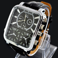 Wholesale 1pcs new men fashion watch big square dial luxury style leather wrist watch