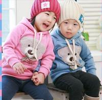 3T-4T bear head coat - New Cute kid Unisex bowknot Bear head sweater Bear Children s boy girl fleece hooded jacket coat overcoat