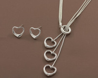 Wholesale Top selling sterling silver plated fashion jewelry heart style necklace earring set