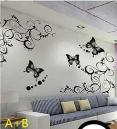 Wholesale Autocollant muraux Peinture murale affiche autocollant décoratif set vine papillon cm