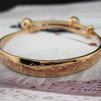 Wholesale K Rose Gold Filled Baby Infant Bracelet Bangle Bells Cute Style GF Adjustable Bangle