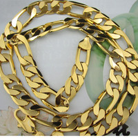 Wholesale Thick Men s k yellow gold filled necklace quot Figaro chain mm wide g Men s GF Jewelry