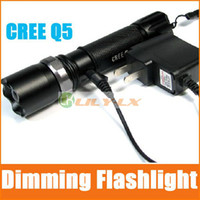 Wholesale HOT sale Torch LED Flashlight ZOOM DIMMING MODE Cree Q5 Adjust focus FREE Battery chargers