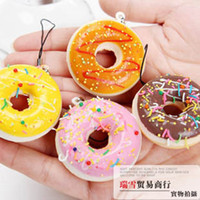 Wholesale Cute cartoon Donut squishy charm mobile phone strap