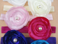 Wholesale Satin Hair Bands Pearls - Trial order Layered Flower Headbands Matching Pearl Nylon Elastic Hair Band Satin Girl Toddler Headbands 30pcs lot QueenBaby