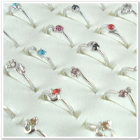 Wholesale Mix of Rhinestone Crystal Silver Plated Lady s Rngs D001