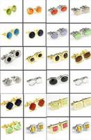 Wholesale 10pairs High Grade Manmade Opal Stones Mens Cufflinks Gold White Gold PD Brass Shirt Cuff Links