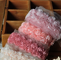 Wholesale Wedding d Rose Fabric Craft Sewing Mesh Trim pink white red grey black blue