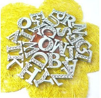 Wholesale mm A Z Half rhinestone Slide letters DIY Accessories