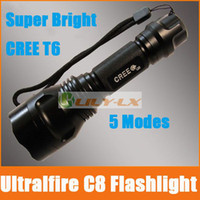 Wholesale CREE LED Flashlight Ultralfire C8 Torch MODES Cree XM L T6 LM waterproof Free ship HOT SALE