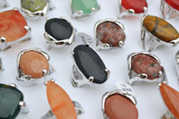Wholesale Rings Jewelry Bulk Charm Large Natural Gemstone stone metal amp silver plated Ring