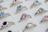 South American Women's Party Rings Jewelry 50pcs Bulk Lots Charm CZ Rhinestone Zirconia metal & silver plated Ring