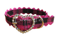 Wholesale 4colors fashion plaid denim cover pu inside pet dog collar heart shape clear rhinestone buckle
