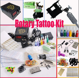 Wholesale Rotary Tattoo Machine Gun Kits LED Power Supply Set Needles Steel Tips Accessories