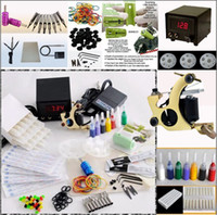 1 Gun Beginner Kit New Pro Tattoo Gun Kits Shader Machine LED Power Supply System 20 Needles Accessories
