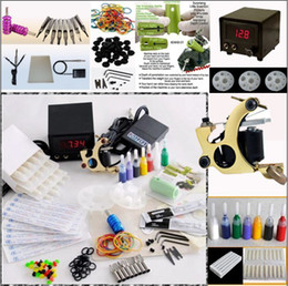 Wholesale Pro Tattoo Gun Kits Shader Machine LED Power Supply System Needles Accessories