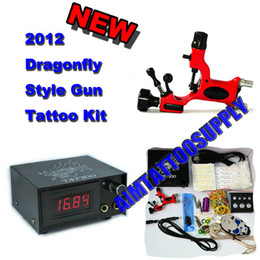 Wholesale Red Rotary Tattoo Machine Dragonfly Dragon Power Supply Complete Tattoo Kit New Supply
