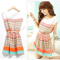 Chiffon Round Mini New Colorful Stripes Party Mini Dress Clubwear Free Bowknot Belt Womens Dresses Adeal #2691