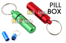 Wholesale Aluminum Pill Box Case Bottle Holder Container Keychain Free AIR Mail ONLY Hittime So