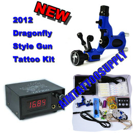 Wholesale HOT Tattoo Kit Rotary Tattoo Machine Blue Adjustable Shader Liner Skull steel Foot switch Supply