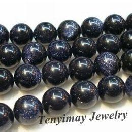 "Wholesale 14mm round blue sand stone gemstone beads, 16"" strand blue gold sand stone beads"