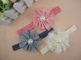 Baby Girl Vintage Lace Flower Headbands Matching Pearl Tulle Toddler Headbands Newborn Photography Props 120pcs lot