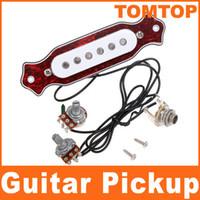 al por mayor electric pickup-Quelonio rojo de sonidos de Shell agujero Sensor Magnético para Folk acústica de la guitarra eléctrica I81