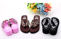 Wholesale Cheap NEWEST woman fashion leopard satin summer wedges sandals beach sandals Flip flops