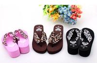 Wholesale Cheap NEWEST woman fashion leopard satin summer wedges sandals beach sandals Flip flops