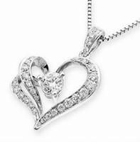 Wholesale Heart Necklace CZ Crystal Having Two Layers Bohemian Christmas Gift free shiping JN5035