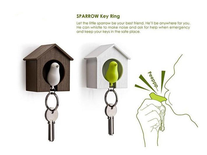 Hot Sale Sparrow Key Ring Sparrow Bird House Nest Whistle