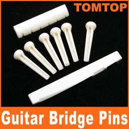 Wholesale A Set of White Black Folk Guitar Bone Bridge Pins Saddle Nut I78 I78B