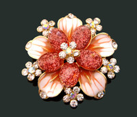 Wholesale hot sell Women fashion Zinc alloy rhinestone flower brooches costume jewelry mixed color BH601
