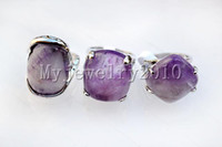 Wholesale Rings Silver Plated Amethyst gemstone Silver tone Ring Fashion style Jewelry include box