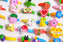 Rings assorted polymer clay FIMO Ring Ring Fashion style Children kid Jewelry Include box 100pcs