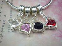 Wholesale Heart Pendant European Rhinestone Pendants For Snake Chain Mixed Color