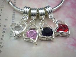 Heart Pendant European Rhinestone Pendants For Snake Chain 50pcs Mixed Color