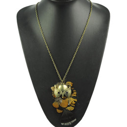 feather necklaces,owl pendants long chain necklace jewelry.NL-1739