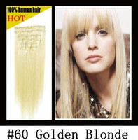 Wholesale 16 quot quot remy Human Hair CLIP IN HAIR EXTENSIONS platinum blonde quot amp g sets