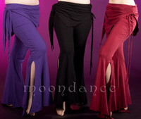 Belly Dance Pants with skirt panel & flare shaped split ...