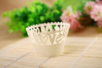 Wholesale Ivory Laser cut Lace Cake Wrapper Cupcake Wrapper new product