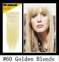 Wholesale 20 quot clip in hair extensions remy human hair extension Blonde mixed quot amp g sets