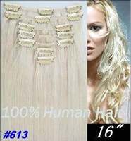 Wholesale 16 quot quot remy Human Hair CLIP IN HAIR EXTENSIONS lightest Blonde quot g sets by DHL EMS