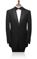 Cheap Custom Made Tuxedo New Mens 4 Pieces Complete Groom Wear Black White wedding suit