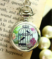 Wholesale Women s Pocket Watches Necklace Sweater Chain Watch With Bird Cage design