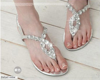 Wholesale 2012 newest fashion women crystal rhinestone diamond flat sandal calceus clip toe shoes size