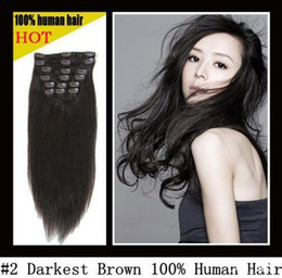 Wholesale 20 quot remy Human Hair CLIP IN HAIR EXTENSION Straight DARKEST BROWN quot amp g sets