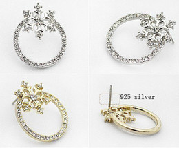 Wholesale fashion crystal jewelry stud earrings Arc snow type hoop earrings