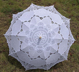 Wholesale Vintage palace style white Parasol Umbrella for wedding party Bridal batten lace handmade high quality a0093