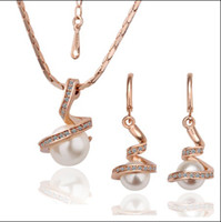 Wholesale Hot new plated K rose gold pearl necklace earrings jewelry set fashion gifts set